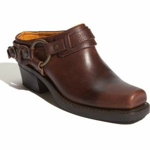 SALE!! Frye Brown Belted Leather Harness Mules